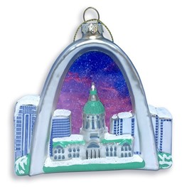 Ornament: Arch & Old Courthouse Blown Glass